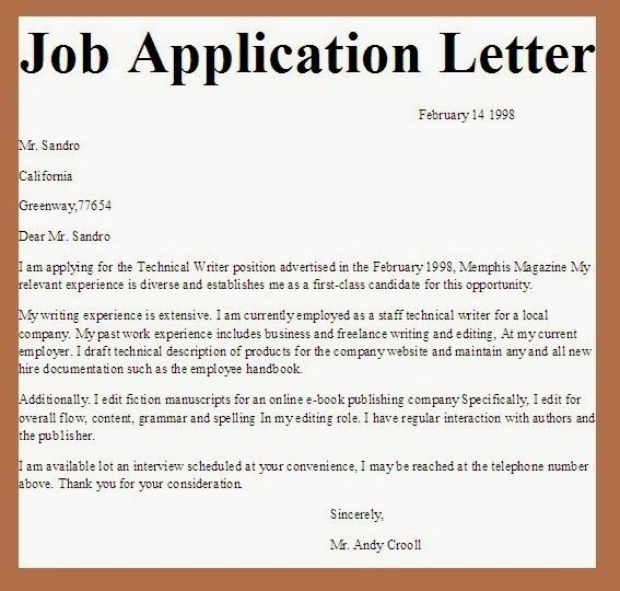 Writing application letter for employment