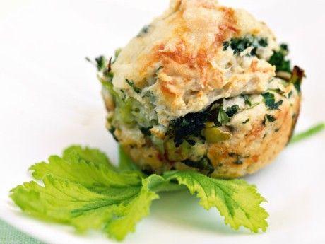 Matmuffins med ost, broccoli och rucola