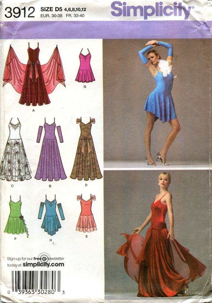 Simplicity Sewing Pattern 3912 Dance Dress Tango Ballroom Misses