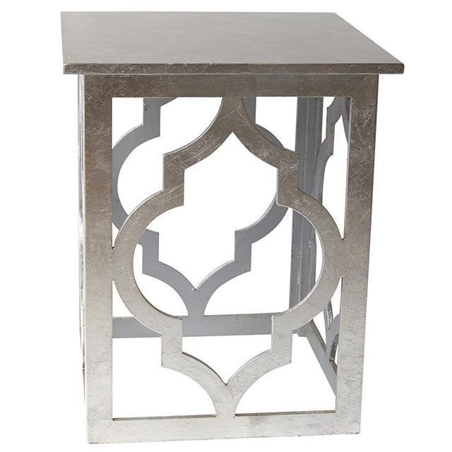 The Marrakesh accent table from !nspire comes in silver (shown below) and gold, and adds an element of spice to your home decor...  http://worldwidehomefurnishingsinc.com/marrakesh-accent-table-in-silver.html