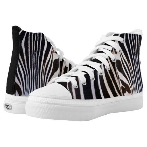 Black and White Zebra Striped Hi Top Shoes