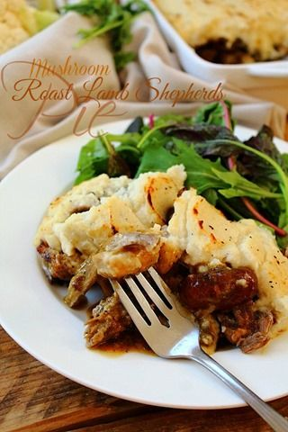 Roast Lamb Shepherds Pie | Gravy: 1 cup water; 1 tsp vegetable bouillon or 1 – 1¼ cup leftover meat juices; 1 T (7g) tapioca flour + 2 tbsp water; 2 T (28g) ghee; 1 tsp Dijon mustard; ½ T balsamic vinegar | Filling: 1 cup mixed mushrooms (oyster and cremini); 250g leftover roast lamb meat; 2 T (28g) ghee; Himilayan Rock Salt and Black Pepper to taste | Mash Topping: ½ large head cauliflower; 2 T (28g) ghee; ¼ tsp Himalayan salt; ¼ tsp black pepper; 1 T (7g) tapioca starch; 1 T (7g) coconut…