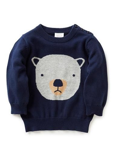 100% cotton sweater with front intarsia bear