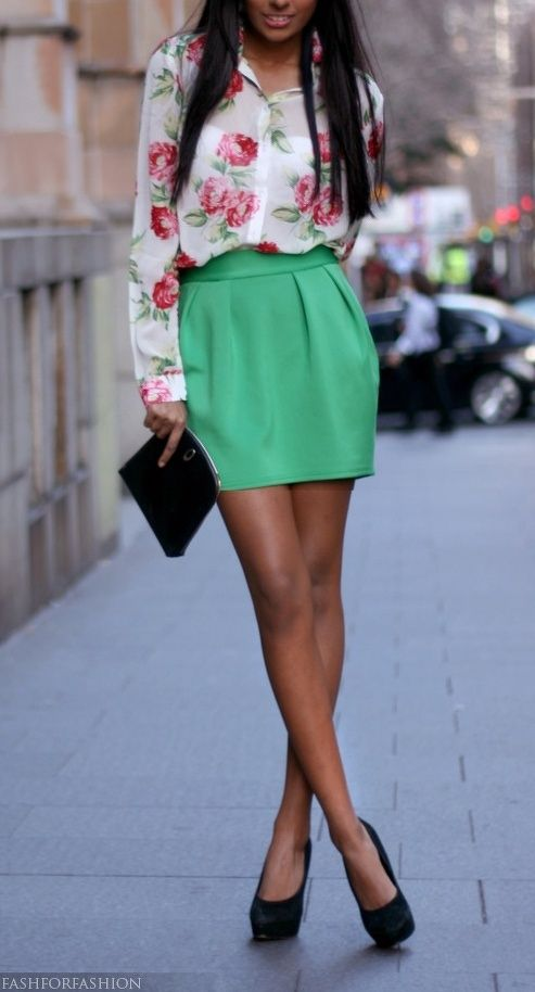 the floral sheer top is my favorite!  also the mint green skirt is pretty cute!  love this outfit