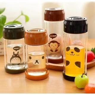 Cartoon Print Glass Water Bottle