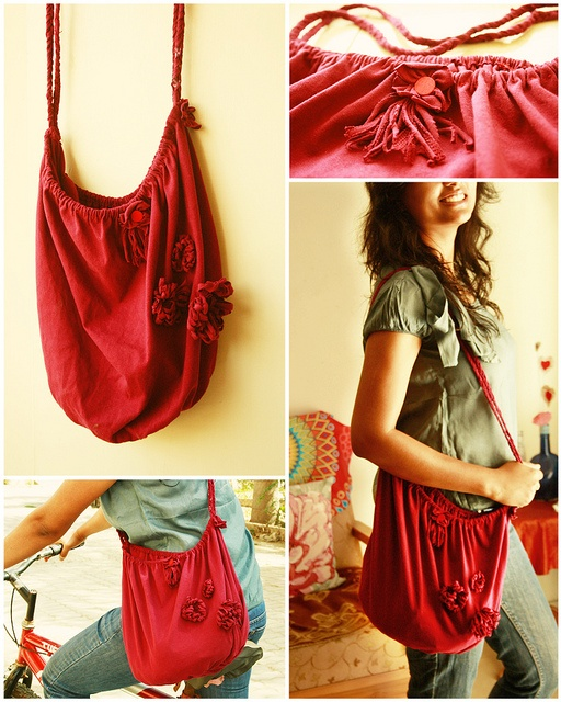 Recycling is great.  Just loving the new bag made out of an old t-shirt.