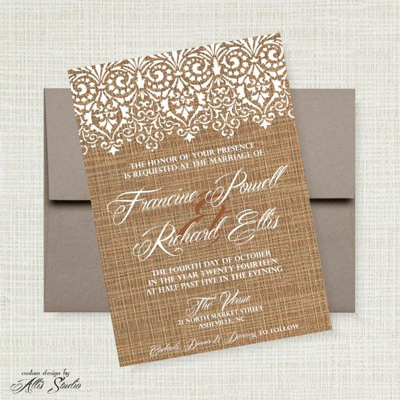 French Lace & Flax Wedding Invitation Suite: 5x7 ...