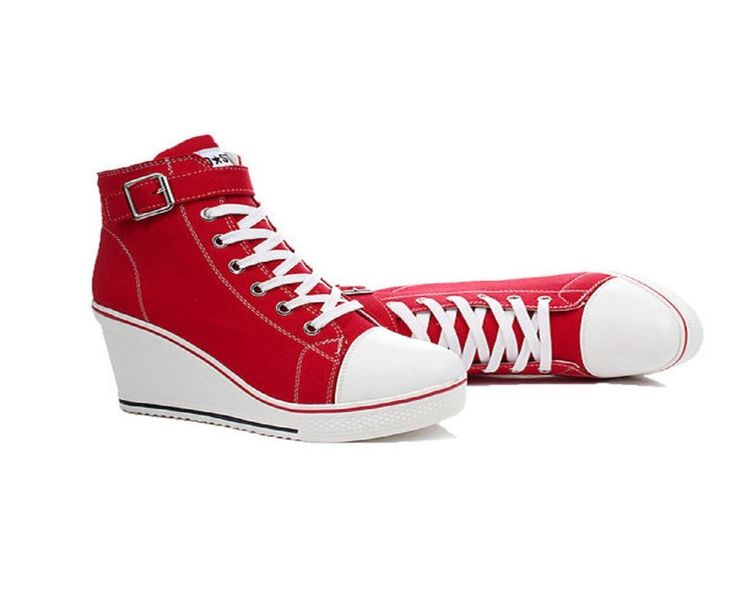 Max Star Women High Top Canvas Wedge Heel Lace Up Platform Ankle Boots  Sneakers #Canvas