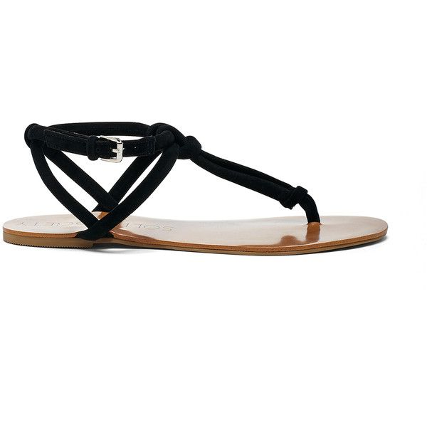 Sole Society Topaz T-Strap Flat Sandal ($65) ❤ liked on Polyvore featuring shoes, sandals, black, black flat shoes, t-bar sandals, suede sandals, t-strap flat sandals and t strap shoes