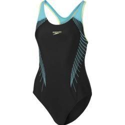 Speedo Damen Schwimmanzug Fit, Größe 36 in Schwarz/Türkis/Gelb, Größe 36 in Schwarz/Türkis/Gelb Spee