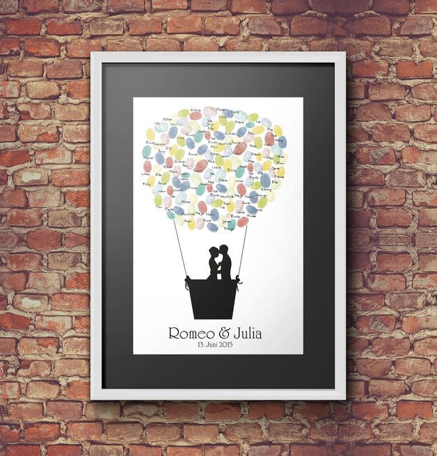 Hochzeitsgästebuch - Fingerabdruck-Gästebuch Heißluftballon - ein Designerstück von caro-faktur bei DaWanda