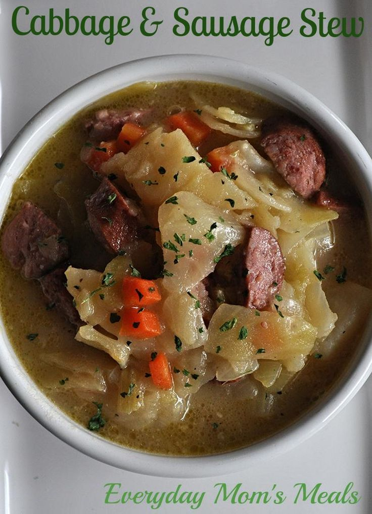 ~Cabbage & Sausage Stew~ A hearty bowl filled with a classic flavor combo. Perfect for a chilly spring day!