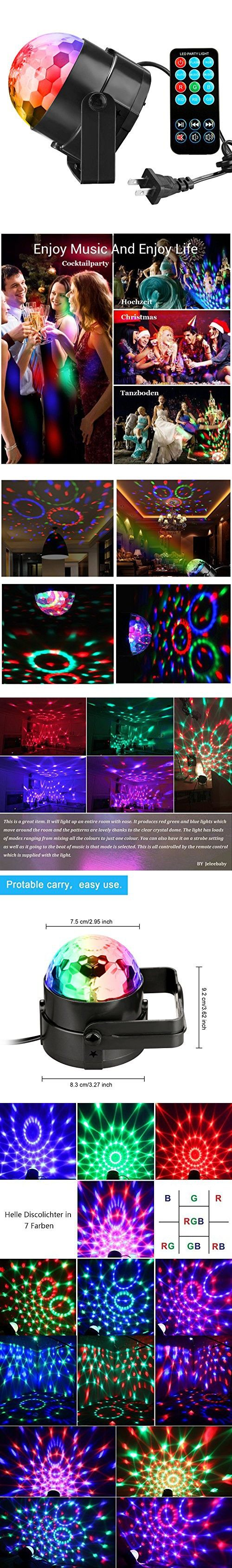 Disco Ball Party Lights Vnina 3W 7 Colors Mini Magic Stage Lighting Effects Sound Activated DJ Light Strobe LED Lights with Remote for Kids Toys Birthday Party Karaoke Club Wedding Holiday Night Light