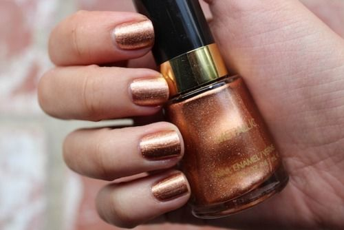 Revlon Copper Penny: It's a beautiful true copper that looks exactly like a shiny new penny and is opaque after just one coat. I recommend two though, because it chips fairly quickly, even with a top coat.