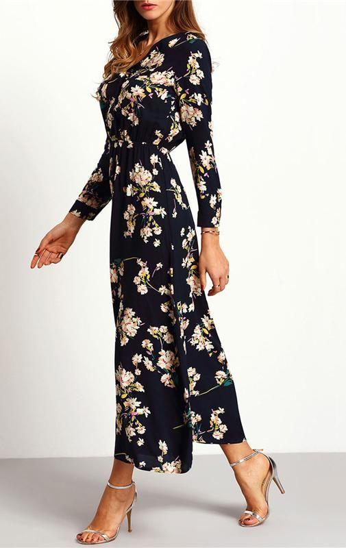 d12cdbd8a77 Floral Long Dress Sleeve Length(cm)  Full Silhouette  Straight Neckline  V-Neck  Dresses Length  Ankle-Length Waistline  Empire Decoration  Button Material   ...
