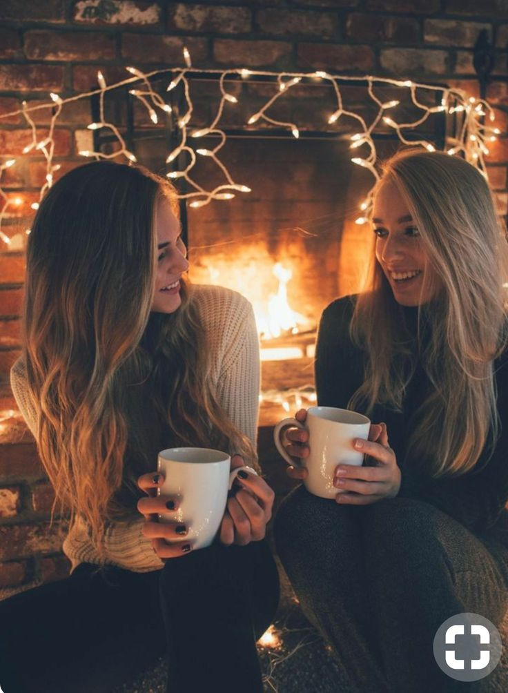 sharing a laugh and hot cocoa