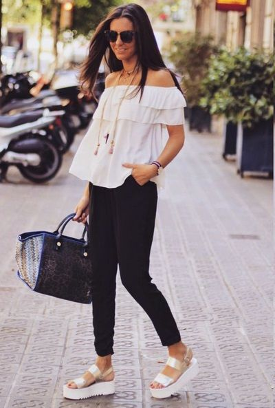 cheetah wedges black flats white peasant blouse