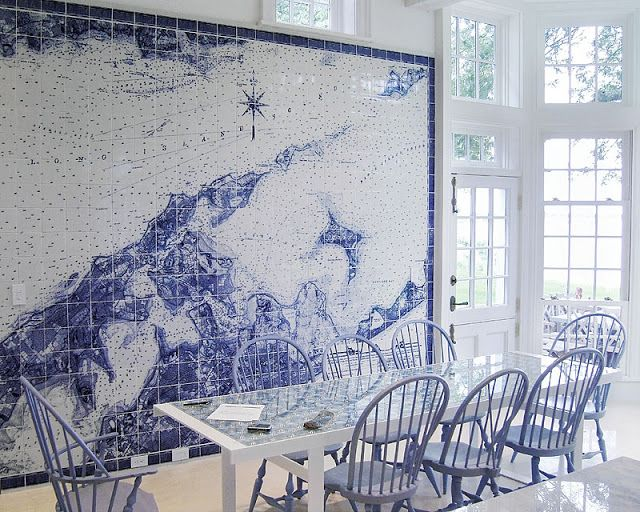 Nautical map made from Spanish tiles adorn this Shelter Island, New York kitchen.