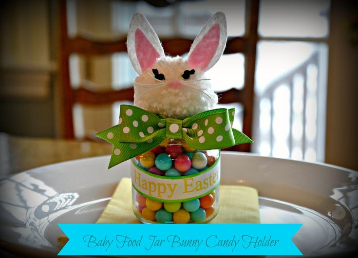 DIY+Easter+craft+Upcycled+baby+food+jar+bunny+rabbit+candy+holder+place+card+1.jpg (1600×1154)