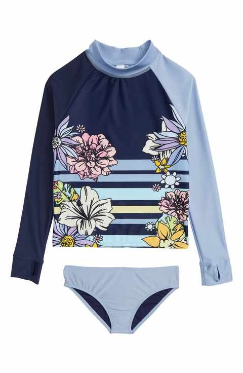 Limeapple Anika Two-Piece Rashguard Swimsuit (Big Girls)
