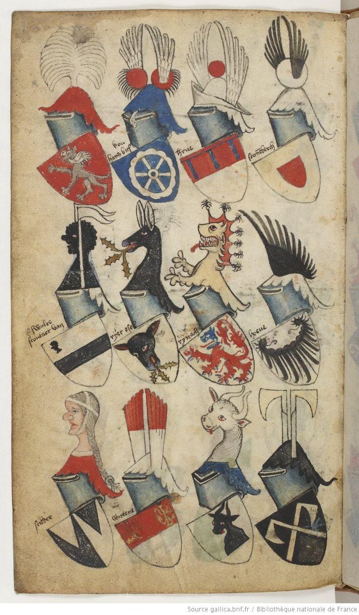 Ancien armorial colorié, où sont figurés les blasons de différents princes et seigneurs de France, Allemagne, Flandre, Angleterre, Espagne, Italie, etc.   Date d'édition :  1401-1500   Français 5230   Folio 69v