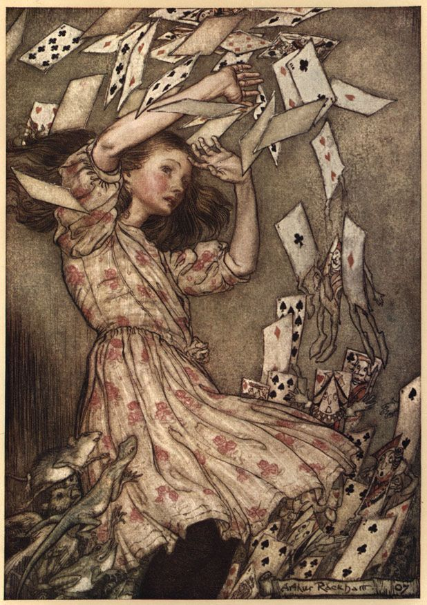 Alice in Wonderland is on my mind today having yesterday seen it told as a ballet.(Illustration by Arthur Rackham)