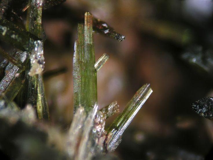 Cristales de olivenita de la mina Angeles 1ª, en Escacena del Campo (Huelva).
