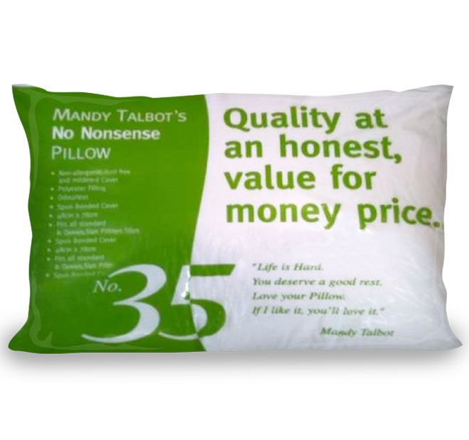Mandy Talbot AUSSIE PILLOWS  Features: Polyester fibre 500GSM Spunbond cover Suitable for stomach sleepers  Dimensions: x1 Standard Pillow - 48cm x 73cm - #pillows