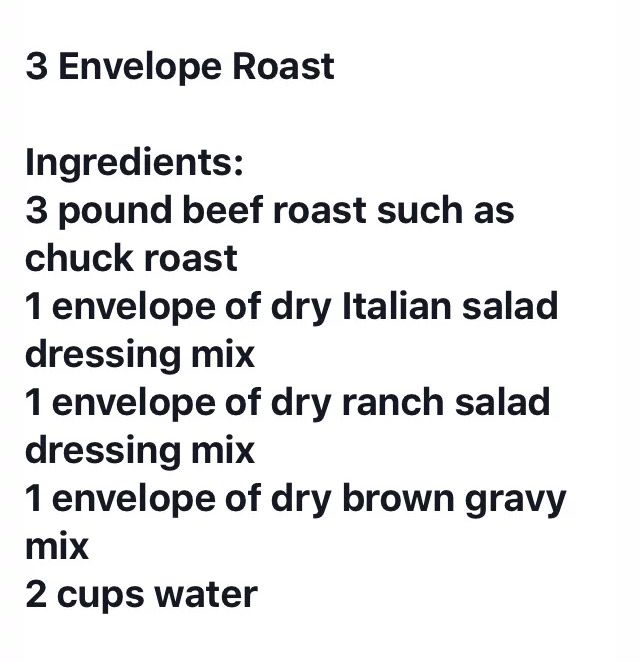 3 envelope roast.