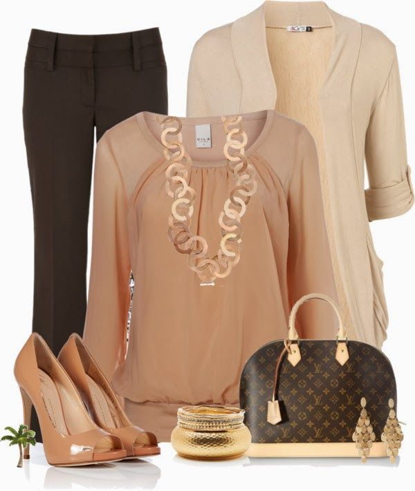Work Outfits | Office Wear  Vila Sophy Top, Wal G cardigan, Brown Pants, GIUSEPPE ZANOTTI shoes, Louis Vuitton handbag, necklace, earrings  by cindycook10