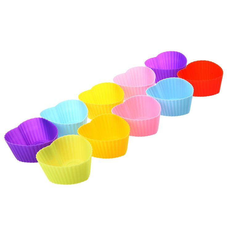 10X Sweet Heart Jello Dessert Muffin Cup Cake Silicone Baking Molds T1