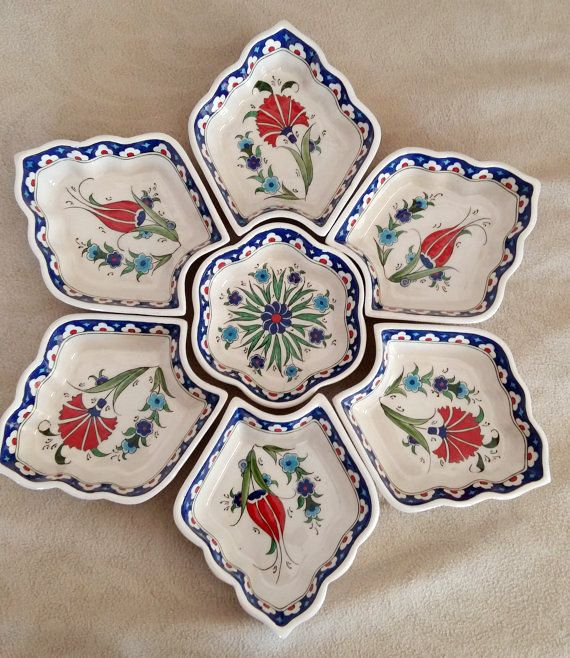 handmade tile turkish tile appetizer server tray  tile art tulip and clove pattern izniktile and pottery by nurceramicarts on Etsy