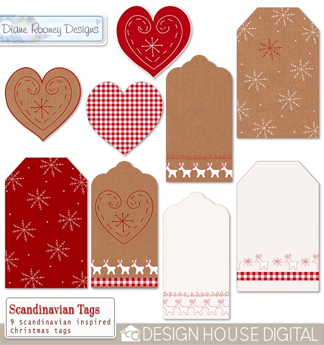 Scandinavian Christmas Digital Tags --shop closed but these can be copied at home with a white pen, ribbon and papers...