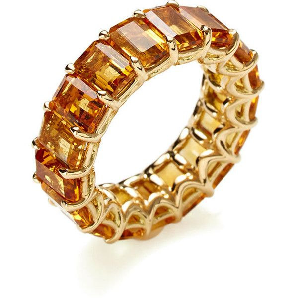 Arazi Eternity Arazi Eternity Women's Emerald Cut Citrine Eternity... ($2,450) ❤ liked on Polyvore featuring jewelry, rings, wedding rings, orange, 18k ring, citrine ring, emerald cut ring and citrine jewelry
