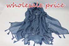 wholesale price 2016 Ladies Viscose Tassels Scarves Women Plain Hijabs Oversize Solid Shawl Soft Fashion Women muslim head Scarf(China (Mainland))