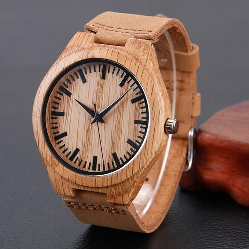 Wood Bamboo Genuine Leather Band Strap