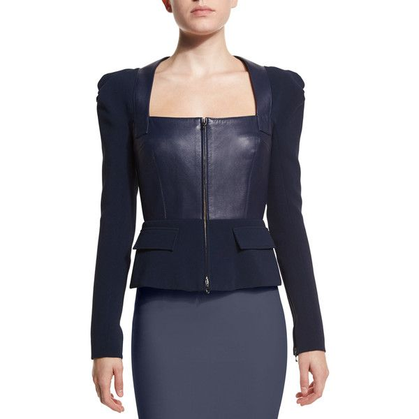 Roland Mouret Galaxy Square-Neck Peplum Jacket (€3.040) ❤ liked on Polyvore featuring outerwear, jackets, navy, leather jacket, zip front jacket, leather straight jacket, galaxy jacket and lined leather jacket