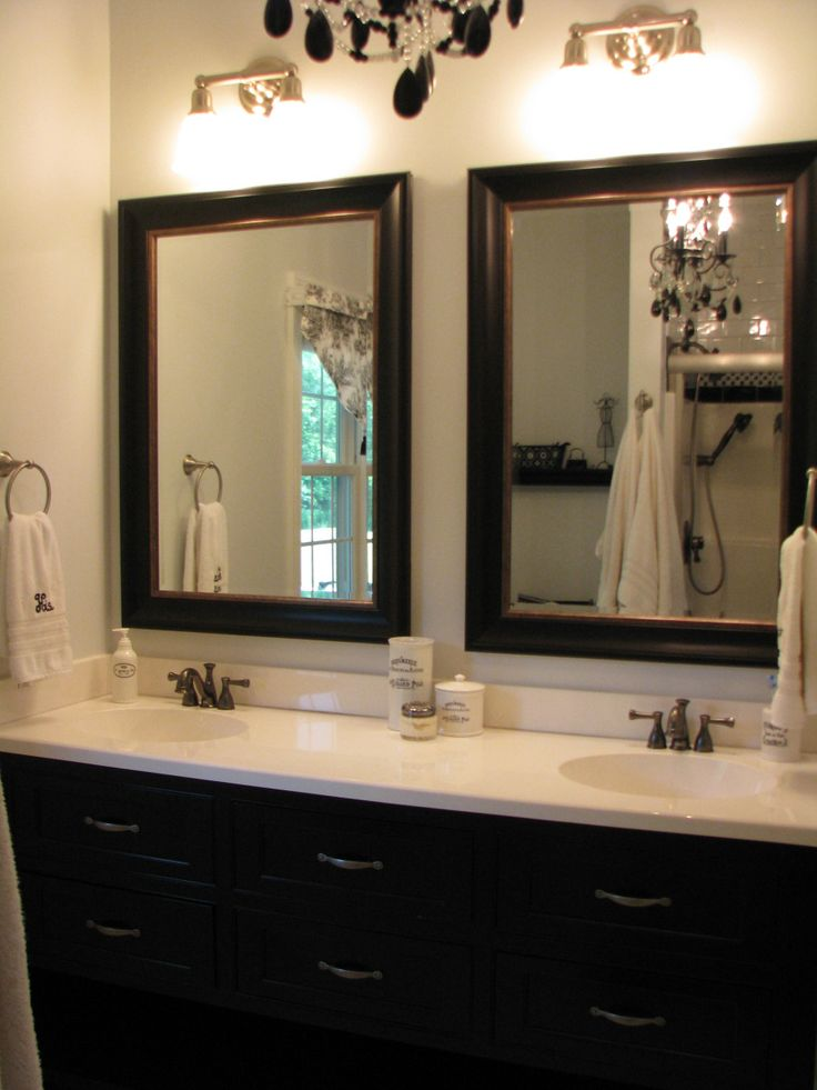 individual bathroom mirrors like this look versus one big mirror