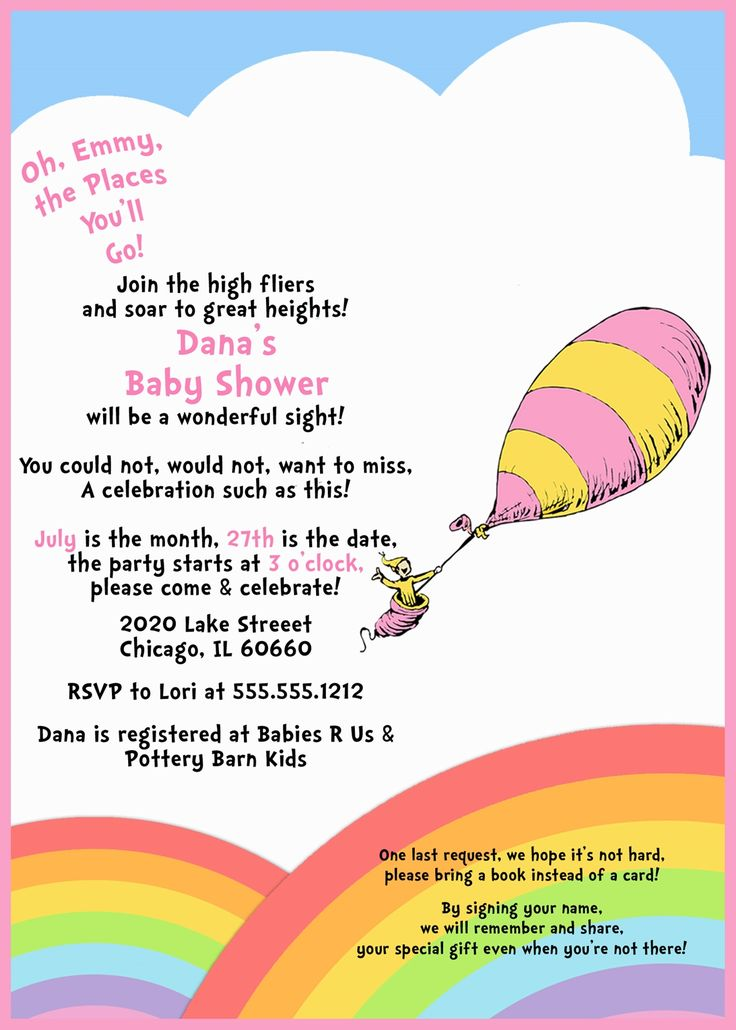 baby shower invitation oh baby the places you 39 ll go pink baby