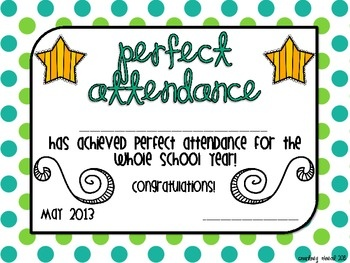 Year-long Perfect Attendance Award FREEBIE