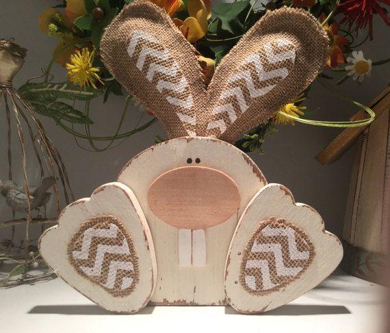 Lapin de Pâques, lapin de bois, Pâques mignon en bois
