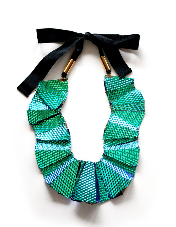 Levels Necklace_Turquoise 3D fine ribbon Brass element  Collection 2016 Leather jewellery with 3D print holographic effect by My Golden Cage