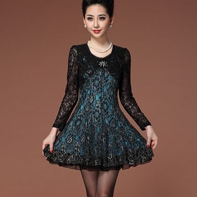 Elegant Long Sleeve Lace Round Collar Dress Blue Red
