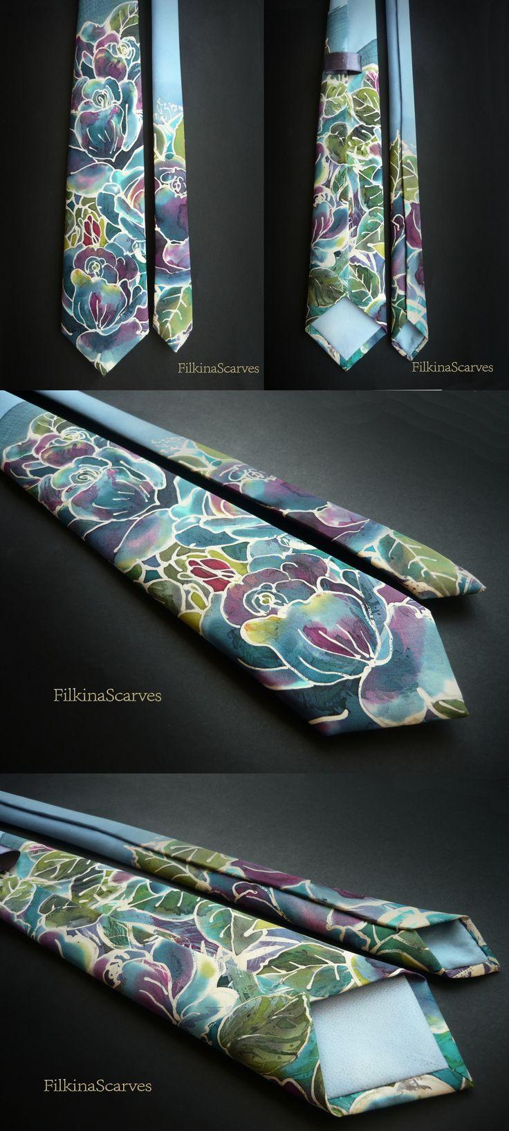 @FilkinaScarves on Etsy Silk Necktie Hand Painted Mens tie Wedding Necktie Blue Mens Necktie unique gift for men Silk neckties Handpainted Tie Groomsman gift FS17