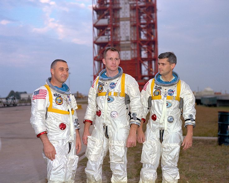 Gus Grissom, Ed White and Roger Chaffee during training in Florida on March 21, 1966.