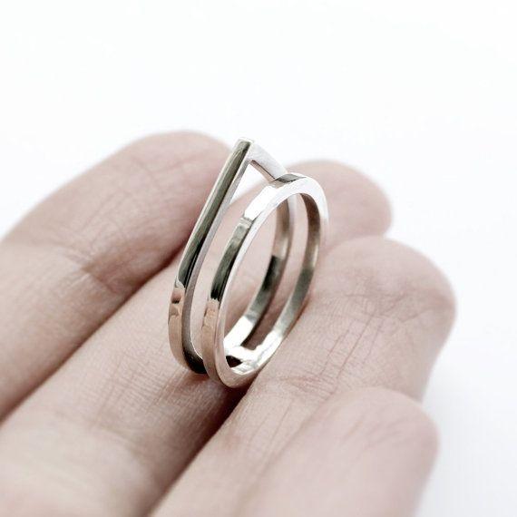 Paired . sterling silver ring van jewelryMirta op Etsy