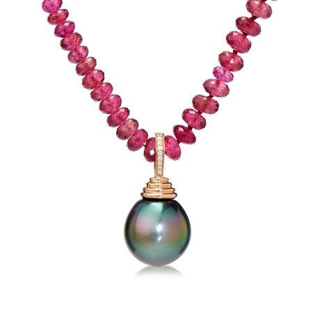 Matahina 98ct Rubalite & Tahitian Drop Pearl 18ct YG Necklace