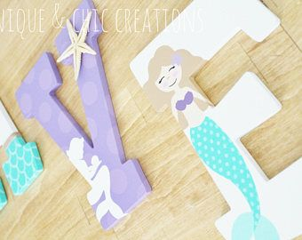 Lavender Purple and Aqua Mermaid Themed Personalized Wooden Letters for Nursery