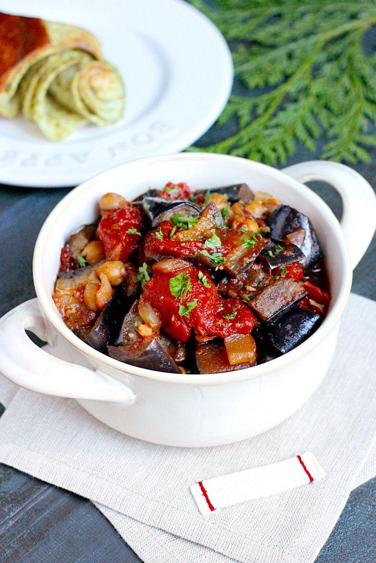 #Lebanese Eggplant Stew [eggplant, onion, garlic, chickpeas, whole peeled tomatoes, pomegranate molasses, allspice]