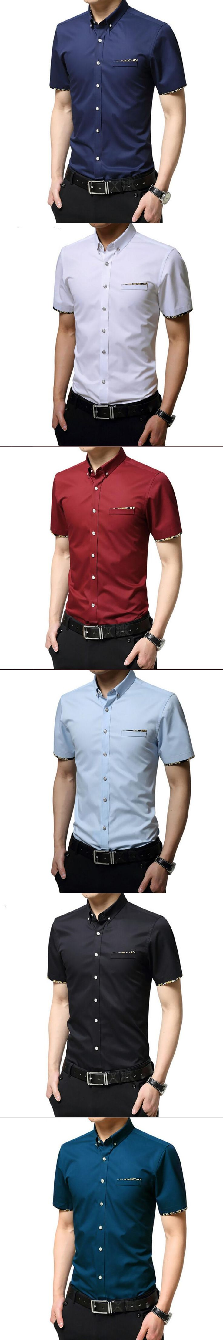 Summer Business Casual Male Shirt 100% Men's Cotton Clothing Formal White Shirt Slim Male Short-sleeve